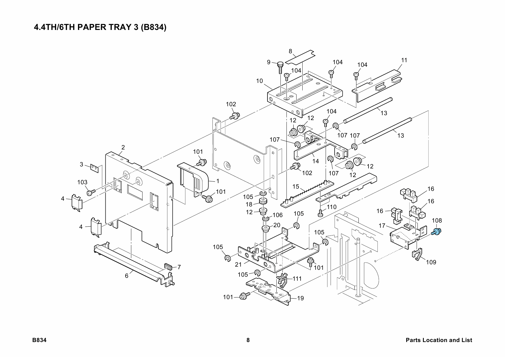 RICOH Options B834 LCIT-RT5010 Parts Catalog PDF download